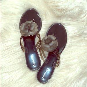Chanel Camellia flip flops